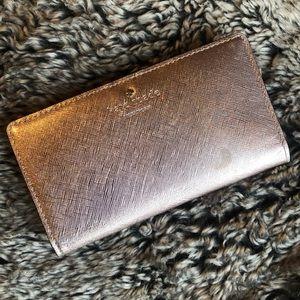 [kate spade] champagne/ rose gold wallet